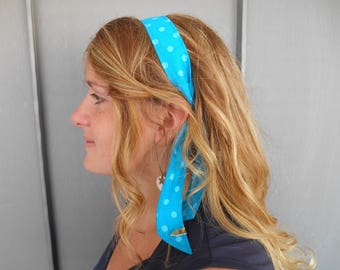 Blue headband with polka dots