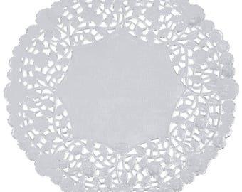 """10"""" 100PCS Silver Foil Lace Doily, Paper Doilies, Doily, Lace Doily, Lace Doilies, Foil Doilies, Silver Lace Doily, Silver Foil Doilies"""