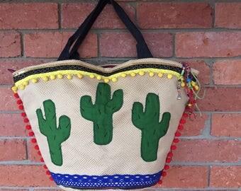 Summer weekend bag/cactus pot tote bag/boho summer bag/bohemian summer bag/tote oversized bag/ethnic hobo bag/ethnic summer bag/frida kahlo