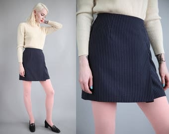 "Vtg 90s Navy Pinstripe Mini Skirt 25.5"" Waist sz S"