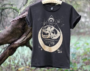 handprinted shirt with rolled sleeves catskull occult