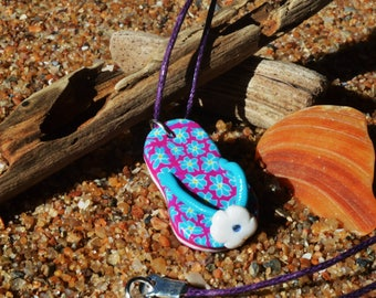 pattern tap pink, white and turquoise polymer clay necklace