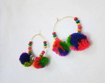 Jewellery, Earrings, Hoop Earrings, Handmade Earrings, PomPom Earrings, Pom Pom Earrings, Round Earrings, Dangle Earrings, Beads Earrings