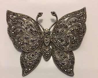 Butterfly Brooch, Vintage Marcasite Butterfly, made of Sterling Silver.