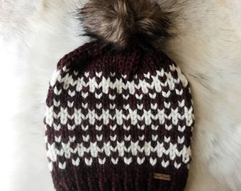 Fair Isle Beanie with Faux Fur Pom Pom
