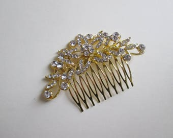 Gold Wedding Hair Comb, Vintage Glam, Gorgeous Sparkle, Quality Swarovski Rhinestones, Wedding Hair Comb, Bridal Hair Comb