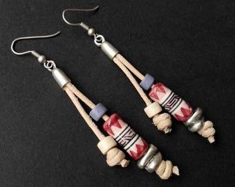 Ethnic Earrings | Peruvian Ceramic Earrings | Silver Plated Earrings | Tribal Earrings |  Boho  Earrings | Aztec Earrings | Leather Earrings