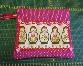 Clutch purse red/pink matryoshka