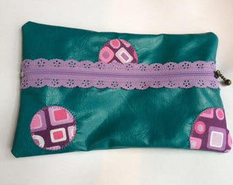 Faux leather, turquoise, purple and pink zip pouch cosmetic, lace