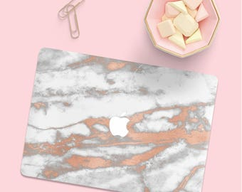 White Rose Gold Marble Macbook Case, Marble Macbook Pro Hard Case, Marble Macbook Air Case, Macbook Pro 13 Case, Macbook Air 13 Hard Case