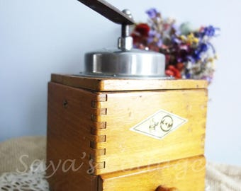 Vintage French Coffee Grinder By KYM Lovely Wooden Manual Coffee Grinder Collectible! Rustic Farmhouse Kitchen Decor