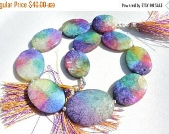 St Patricks Day Sale 10 Pcs Outrageous Natural Multi Color Solar Quartz Oval Shaped Beads Size 36X26 - 25X20 MM