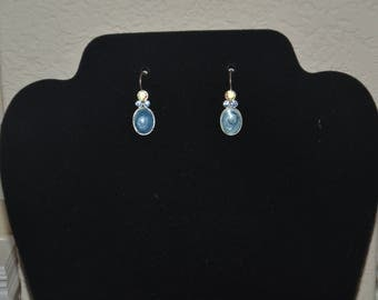 20% off Silver Tone Swirly Marbled Blue Stone Dangling Drop Earring