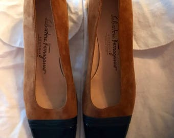 """Salvadore Ferragamo New Never Worn Tan Suede with Black Patent Leather Toe-and Square Black Suede 1.5"""" Heel"""