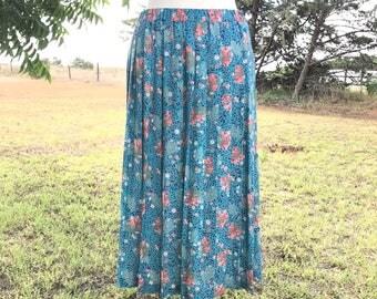 Vintage skirt, size 10, turquoise and coral skirt, vintage clothing, ann-hill, ann hill, flowered skirt, pleated skirt, long skirt, vintage