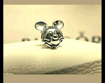 SALE-Sterling Silver Mickey Charm/ New/ Threaded Core/Stamped s925/Threaded