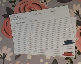 Tea Cup Recipe Cards Large