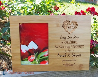 """FREE DELIVERY-Personalized Engraved Bamboo photo frame 4x6""""photo-Wedding gift-Engagement gift-Anniversary gift-Every love story is beautiful"""