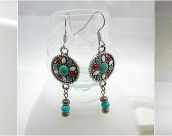 Southern Turquoise and Silver Coloured Earrings - Free Shipping to USA & CANADA
