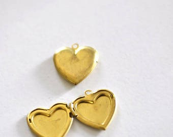 Set of 1 heart photo Locket brass pendant