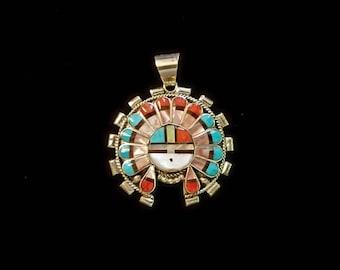 Zuni Inlay Sunface Pendant by Esther Niiha