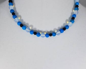 Opalite and dyed howlite beaded necklace