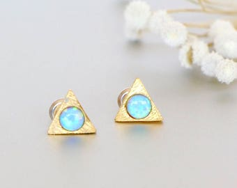 Blue Opal Ear Studs, Valentines  Gift, Gold Triangle Earrings, Delicate Ear Studs, Gifts For Her, Bohemian Jewelry, SSE33