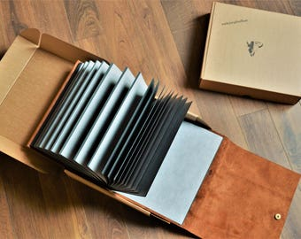 Leather photo album (natural cow's leather)
