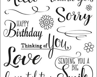 Clear stamps, stamp, silicone stamp, stamp motif, Viva Decor, sorry, happy Birthday, congratulations, text stamp, motif stamp, words, acrylic stamp