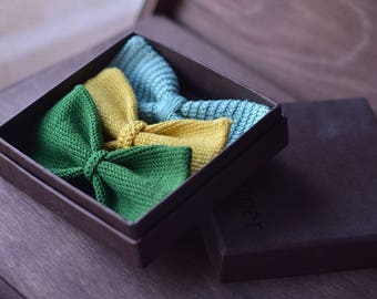 3 100% cotton crochet bow tie set
