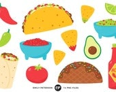 50% OFF SALE! Taco Tuesday Clip Art, Taco Clipart, Fiesta Clip Art - Commercial Use, Instant Download