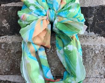 Green and Blue Summer Splash Ruffle Messy Bow Headband