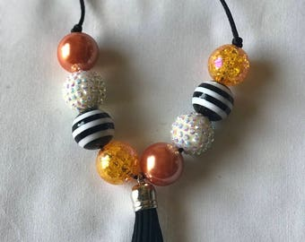 Chunky bead Adjustable necklace with tassel
