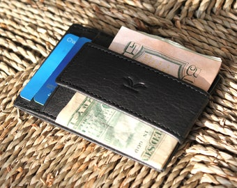 Mens Front Pocket Wallet Minimalist Wallet Men's Money Clip RFID Protection Slim Leather Wallet for Men Fathers Day Gift Handmade Wallet