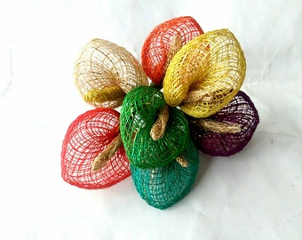 Anthurium Handmade Artificial Flower Made of Abaca Craft Supplies - Various Colours (505379)