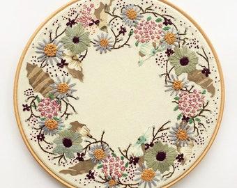 Floral Ring, Hoop Art, Hand Embroidery Hoop, Fibre Art, Wall Decor