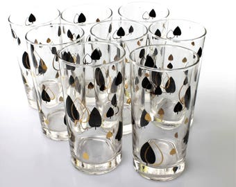 Vintage Libbey Atomic/Midcentury Heavy-Bottomed Highball Glasses with Black and Gold Pattern (Set of 8)