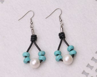Grils Boho Dangle Earring,White Pearl Leather Earrings,Handmade Drop Jewelry,Blue Turquoise Stone Steel Earring,Women Charms Jewelry