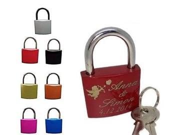 Love lock with engraved lock laser padlock Angel Red