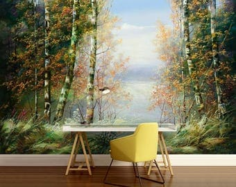 oil painting birch wallpaper, vintage painting forest, vintage forest, birch painting mural, vintage mural wallpaper, painting birch mural