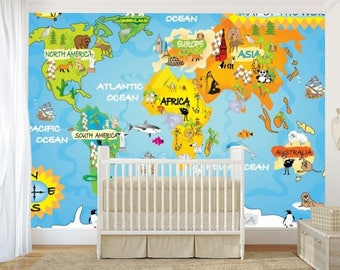 kids world map wall mural, children world map, wallpaper kids world map, map decal, world map wall mural, education world map, map for kids