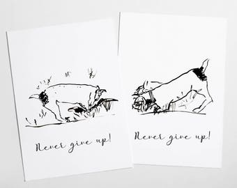 Never give up jack russel pair of postcards, jack russel terrier illustration, Jack Russel nursery postcards print