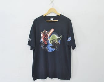 STAR WARS Episode 1 The Phantom Menace Yoda Darth Maul Tee T Shirt Size XL