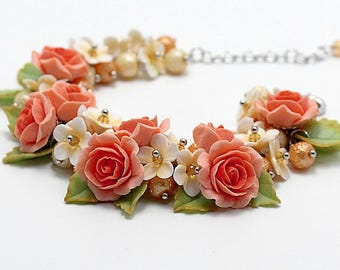 Bracelet with polymer clay coral roses-handmade