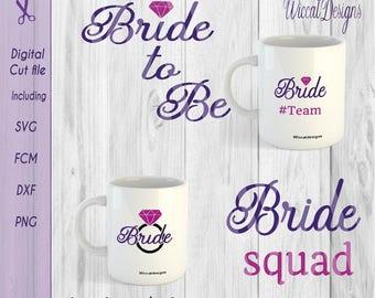 Bride svg, bachelor die svg, diamond svg, team bride svg, bride squad svg, scanncut, bride shirt svg, dxf file, fcm files, svg  cricut