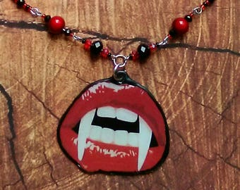 Red Vampire Lips/Gothic/Statement Necklace