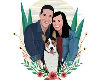 Custom Couple Illustration, Custom Family Illustration, Digital Drawing Gift, Gift for Lovers, Pet Illustration, Gift for Him, Unique Art