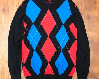 Bugatchi Uomo Italian Sweater Red and blue diamond pattern Silk/Cotton/Cashmere combination High quality designer Size large soft cotton