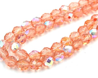 100/pc AB light Rose Crystal Czech 8mm Fire-polished Faceted Round Beads