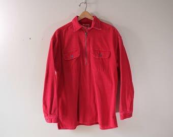 Marlboro heavy weight corduroy half zip shirt men's large
